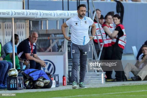 Head coach Vítor Pereira of 1860 Munich looks on during the Second Bundesliga Playoff first leg match between Jahn Regensburg and TSV 1860 Muenchen...