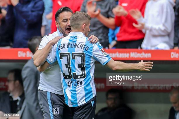 Head coach Vítor Pereira of 1860 Munich speak with Levent Aycicek of 1860 Munich during the Second Bundesliga match between TSV 1860 Muenchen and VfL...
