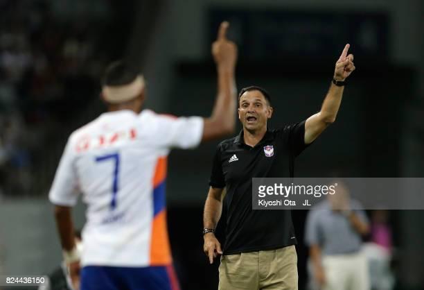 Head coach Wagner Lopes of Albirex Niigata gestures during the JLeague J1 match between FC Tokyo and Albirex Niigata at Ajinomoto Stadium on July 30...