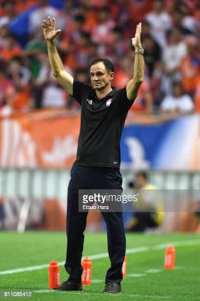 Head coach Wagner Lopes of Albirex Niigata reacts during the JLeague J1 match between Urawa Red Diamonds and Albirex Niigata at Saitama Stadium on...