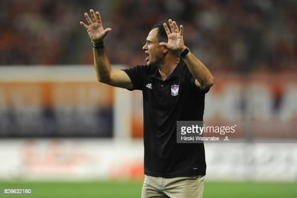 Head coach Wagner Lopes of Albirex Niigata reacts during the JLeague J1 match between Albirex Niigata and Yokohama FMarinos at Denka Big Swan Stadium...