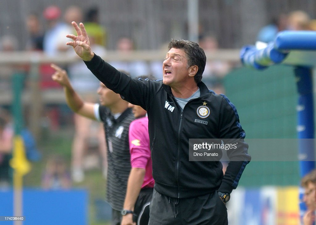 Head coach Walter Mazzari of Internazionale Milano gestures from the touchline during the pre-season friendly match between FC Internazionale Milano and Vicenza Calcio on July 22, 2013 in Pinzolo near Trento, Italy.
