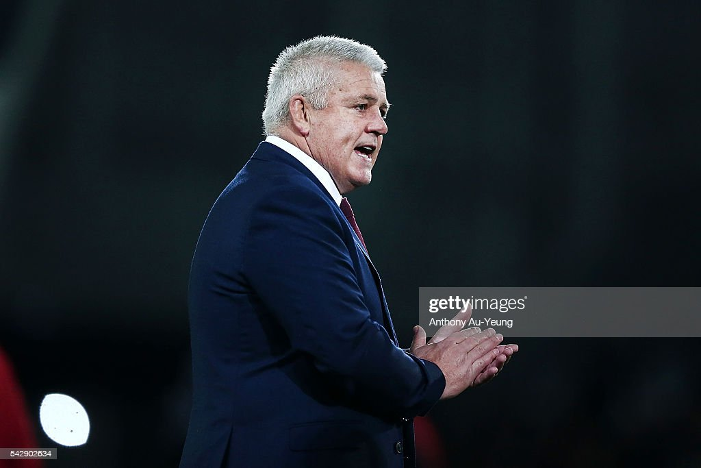 Head Coach <a gi-track='captionPersonalityLinkClicked' href=/galleries/search?phrase=Warren+Gatland&family=editorial&specificpeople=686626 ng-click='$event.stopPropagation()'>Warren Gatland</a> of Wales reacts prior to the International Test match between the New Zealand All Blacks and Wales at Forsyth Barr Stadium on June 25, 2016 in Dunedin, New Zealand.