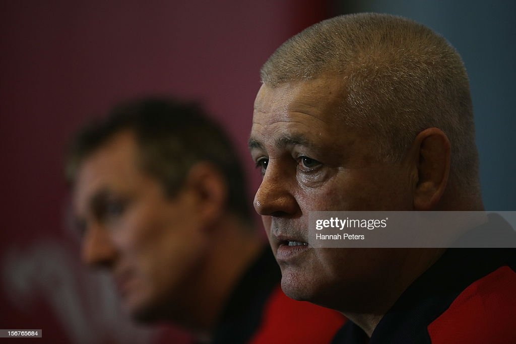 Head coach <a gi-track='captionPersonalityLinkClicked' href=/galleries/search?phrase=Warren+Gatland&family=editorial&specificpeople=686626 ng-click='$event.stopPropagation()'>Warren Gatland</a> of Wales talks to media during a press conference at the Vale resort on November 20, 2012 in Cardiff, Wales.
