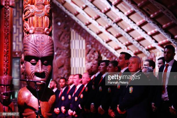 Head coach Warren Gatland sings with the team during the British Irish Lions Maori Welcome at Waitangi Treaty Grounds on June 4 2017 in Waitangi New...
