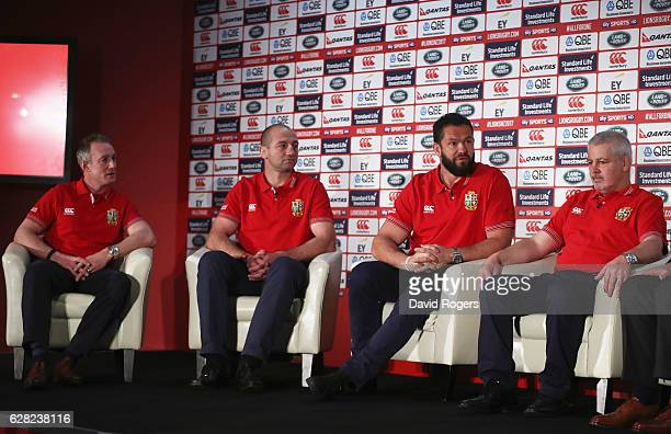 Head coach Warren Gatland sits alongside assistant coaches Rob Howley Steve Borthwick and Andy Farrell during the 2017 British Irish Lions Coaching...