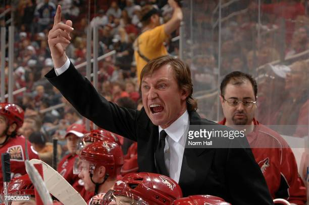 Head coach Wayne Gretzky of the Phoenix Coyotes yells at the onice officials during the second period of a game against the Los Angeles Kings at...