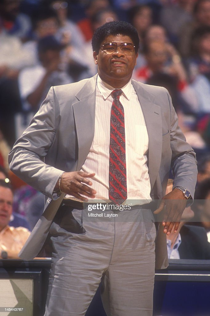 Head coach <a gi-track='captionPersonalityLinkClicked' href=/galleries/search?phrase=Wes+Unseld&family=editorial&specificpeople=212864 ng-click='$event.stopPropagation()'>Wes Unseld</a> of the Washington Bullets looks on during a basketball game against the Atlanta Hawks at the Capitol Centre on March 24, 1988 in Landover , Maryland. The Hawks won 94 -91.