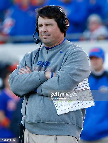 Head coach Will Muschamp of the Florida Gators closes his eyes during the game against the Georgia Bulldogs at EverBank Field on November 1 2014 in...