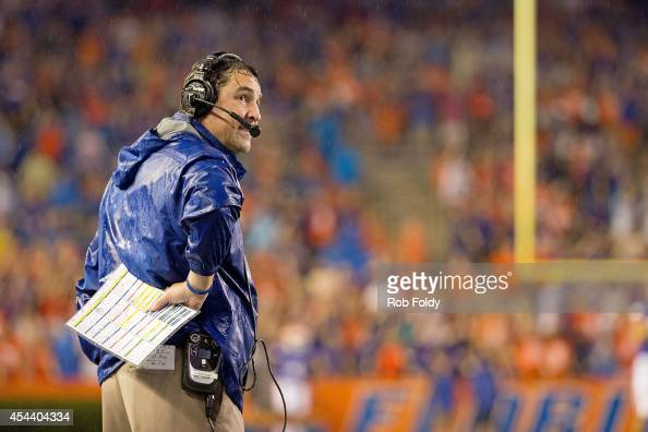 Head coach Will Muschamp of the Florida Gators looks on prior to the game against the Idaho Vandals on August 30 2014 in Gainesville Florida The game...