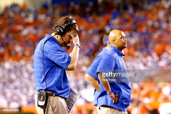 Head coach Will Muschamp of the Florida Gators reacts during the game against the Kentucky Wildcats at Ben Hill Griffin Stadium on September 13 2014...