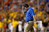 Head coach Will Muschamp of the Florida Gators reacts during the second quarter of the game against the Missouri Tigers at Ben Hill Griffin Stadium...