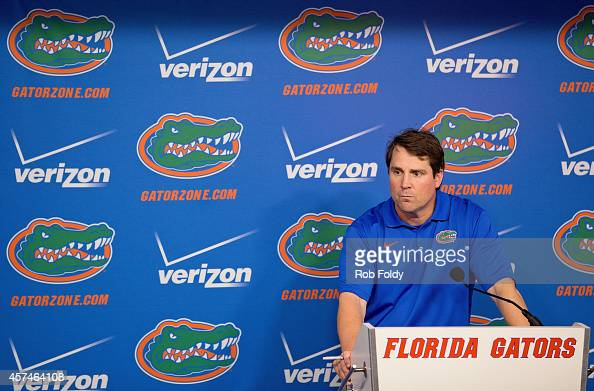 Head coach Will Muschamp of the Florida Gators talks to the media after the Gators' 4313 loss to the Missouri Tigers at Ben Hill Griffin Stadium on...