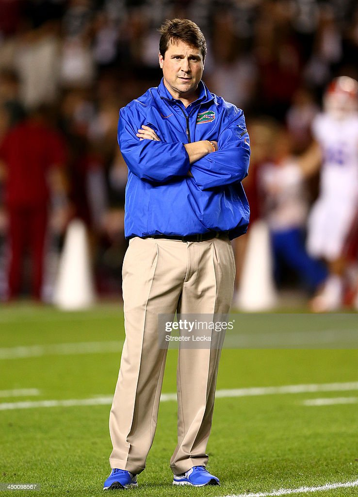 Head coach Will Muschamp of the Florida Gators watches on before their game against the South Carolina Gamecocks at Williams-Brice Stadium on November 16, 2013 in Columbia, South Carolina.