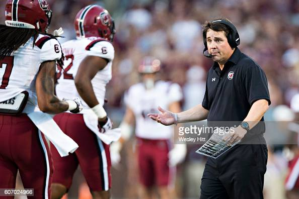 Head Coach Will Muschamp of the South Carolina Gamecocks on the sidelines during a game against the Mississippi State Bulldogs at Davis Wade Stadium...