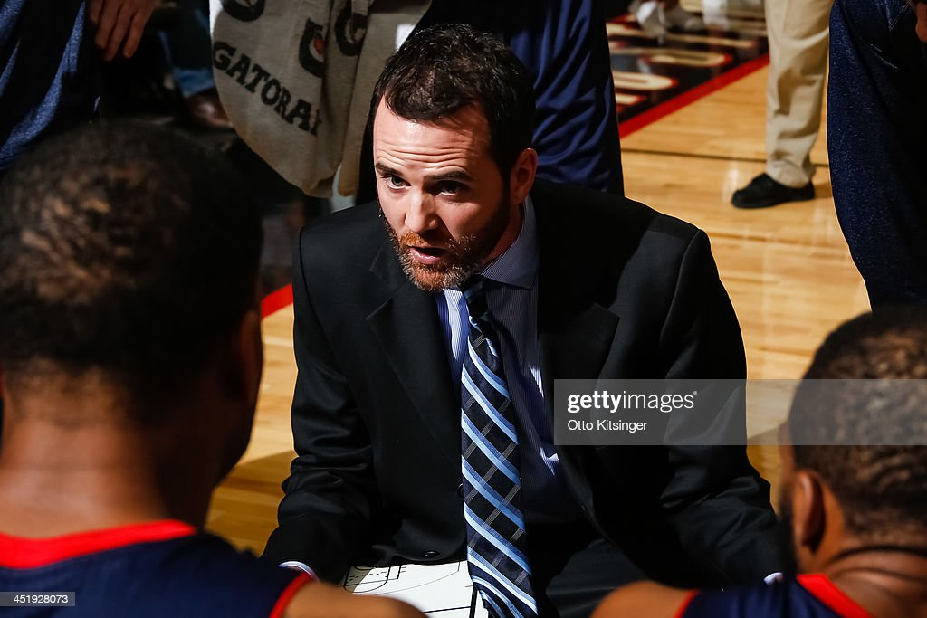 Head Coach Will Voigt of the Bakersfield Jam talks to his players during a time out in an NBA D-League game against the Idaho Stampede on November 22, 2013 at CenturyLink Arena in Boise, Idaho.