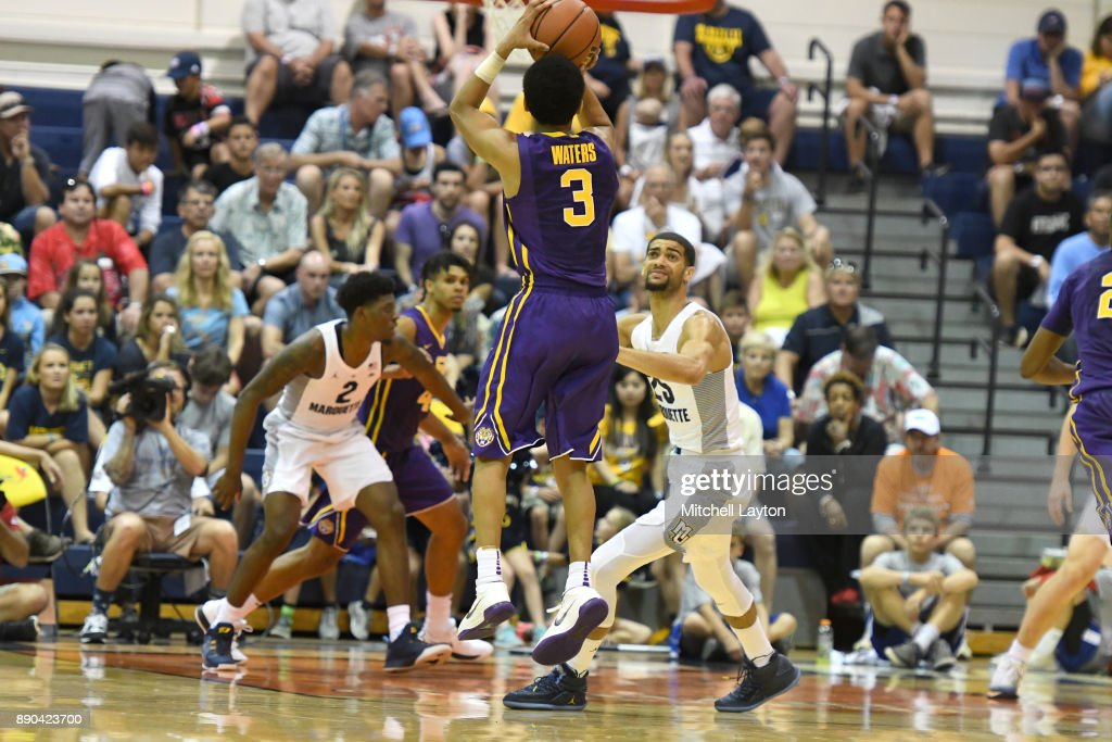 Head coach Will Wade of the LSU Tigers takes a jump shot during a consultation college basketball game at the Maui Invitational against the Marquette Golden Eagles at the Lahaina Civic Center on November 22, 2017 in Lahaina, Hawaii. The Golden Eagles won 94-84.