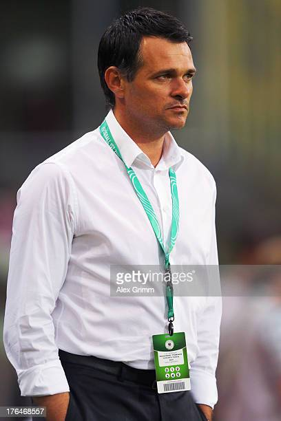 Head coach Willy Sagnol of France looks on prior to the U21 match between Germany and France on August 13 2013 in Freiburg im Breisgau Germany