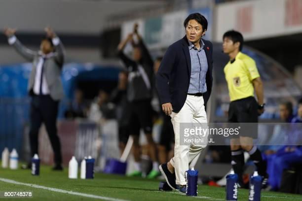 Head coach Yoshiyuki Shinoda of FC Tokyo reacts after his side's 02 defeat in the JLeague J1 match between Jubilo Iwata and FC Tokyo at Yamaha...