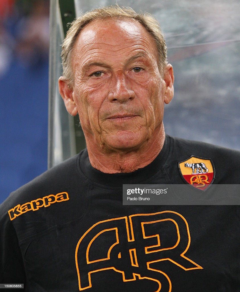 Head coach <a gi-track='captionPersonalityLinkClicked' href=/galleries/search?phrase=Zdenek+Zeman&family=editorial&specificpeople=628975 ng-click='$event.stopPropagation()'>Zdenek Zeman</a> of AS Roma looks on during the Serie A match between AS Roma and Calcio Catania at Stadio Olimpico on August 26, 2012 in Rome, Italy.