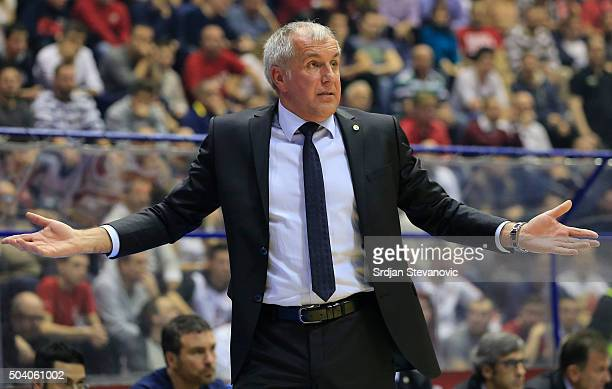 Head coach Zeljko Obradovic of Fenerbahce Istanbul reacts during the Turkish Airlines Euroleague Basketball Top 16 Round 2 game between Crvena Zvezda...