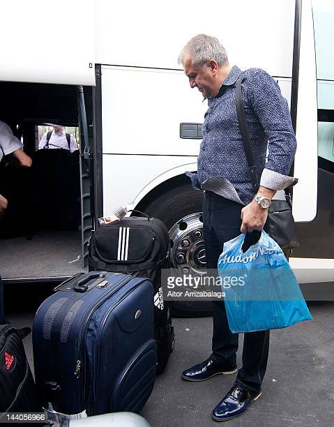 Head coach Zeljko Obradovic of Panathinaikos Athens arrives with the team to participate in Turkish Airlines Euroleague Final Four at Renaissance...