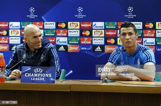 Head coach Zinedine Zidane and Cristiano Ronaldo of Real Madrid attend a press conference at Stadio Olimpico on February 16 2016 in Rome Italy