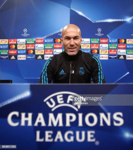 Head coach Zinedine Zidane attends a Real Madrid press conference ahead of their UEFA Champions League Group H match against Borussia Dortmund at...
