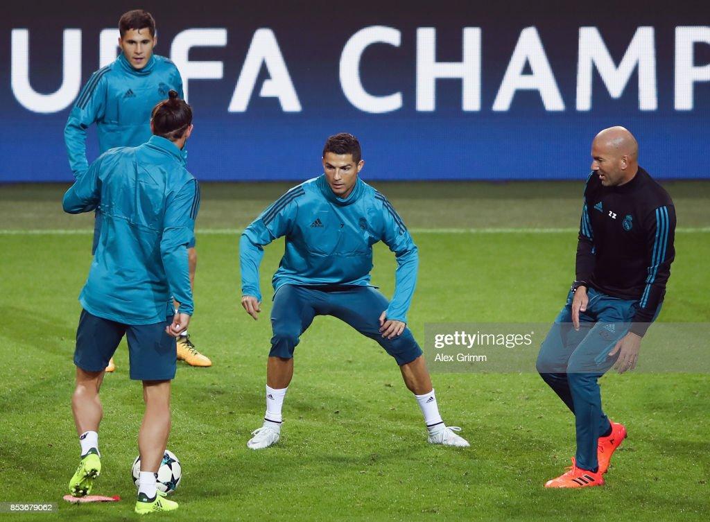 Head coach Zinedine Zidane, Cristiano Ronaldo, Gareth Bale and Alvaro Tejero attend a Real Madrid training session ahead of their UEFA Champions League Group H match against Borussia Dortmund at Signal Iduna Park on September 25, 2017 in Dortmund, Germany.