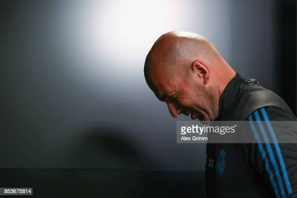 Head coach Zinedine Zidane leaves a Real Madrid press conference ahead of their UEFA Champions League Group H match against Borussia Dortmund at...