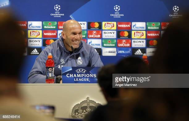 Head coach Zinedine Zidane of Real Madrid attends a press conference at Valdebebas training ground on Frebuary 14 2017 in Madrid Spain