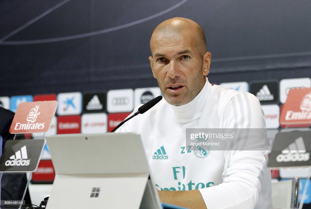 Head coach Zinedine Zidane of Real Madrid attends a press conference at Valdebebas training ground on August 19, 2017 in Madrid, Spain.