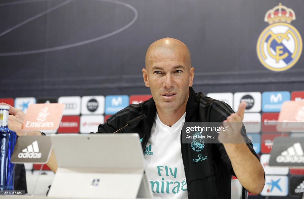Head coach Zinedine Zidane of Real Madrid attends a press conference at Valdebebas training ground on October 21, 2017 in Madrid, Spain.
