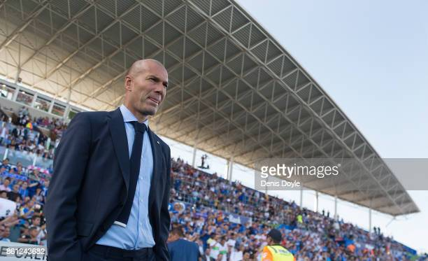 Head coach Zinedine Zidane of Real Madrid CF looks on before the La Liga match between Getafe and Real Madrid at Coliseum Alfonso Perez on October 14...