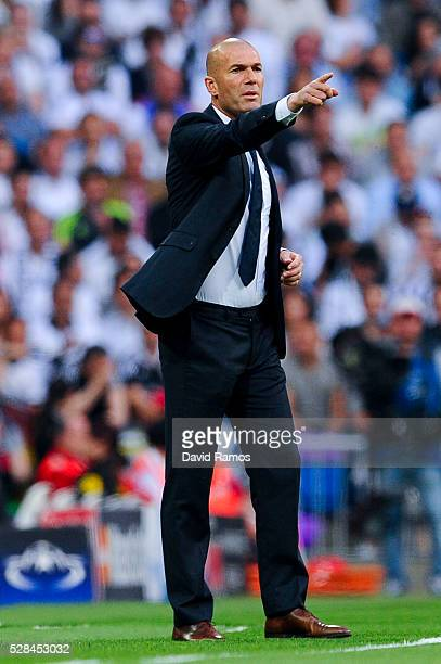 Head Coach Zinedine Zidane of Real Madrid CF reacts during the UEFA Champions League Semi Final second leg match between Real Madrid and Manchester...