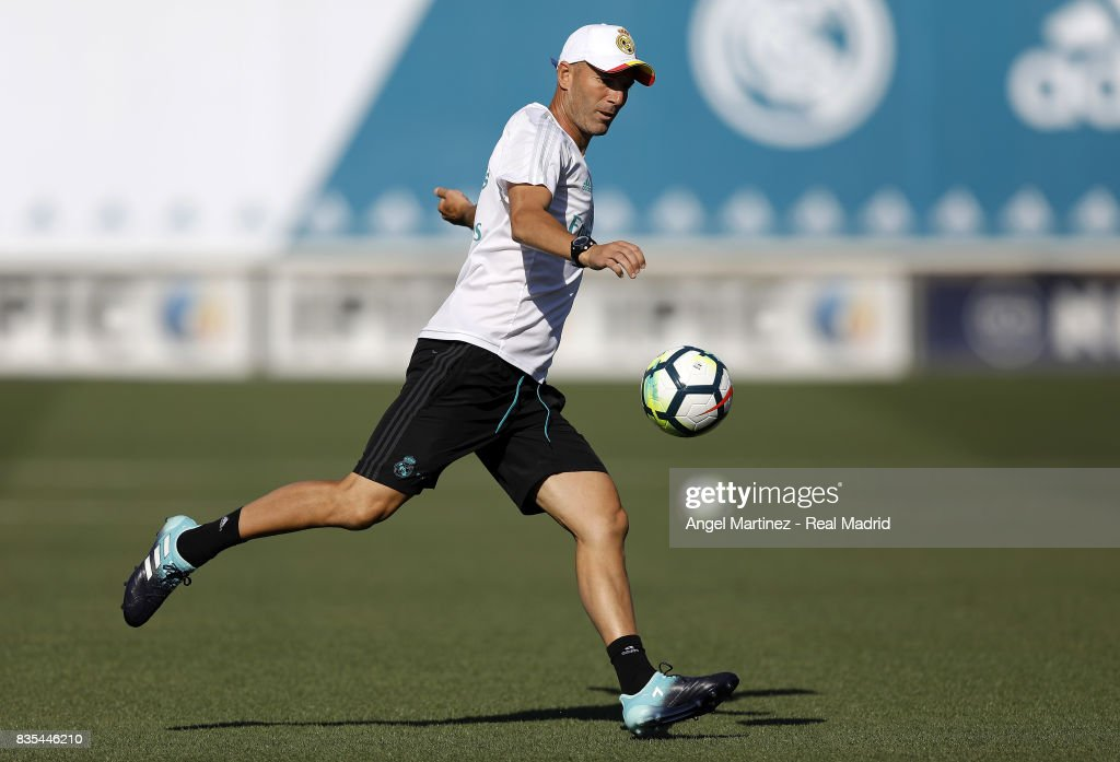 Head coach Zinedine Zidane of Real Madrid in action during a training session at Valdebebas training ground on August 19, 2017 in Madrid, Spain.