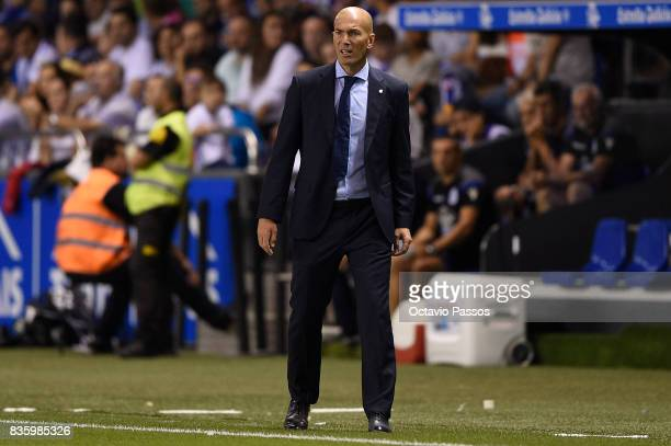 Head coach Zinedine Zidane of Real Madrid in action during the La Liga match between Deportivo La Coruna and Real Madrid at Riazor Stadium on August...