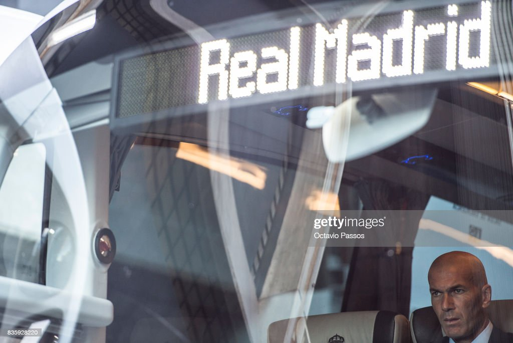 Head coach Zinedine Zidane of Real Madrid inside the bus during the arrival at the Riazor Stadium before the start of the La Liga match between Deportivo La Coruna and Real Madrid at Riazor Stadium on August 20, 2017 in La Coruna, Spain.