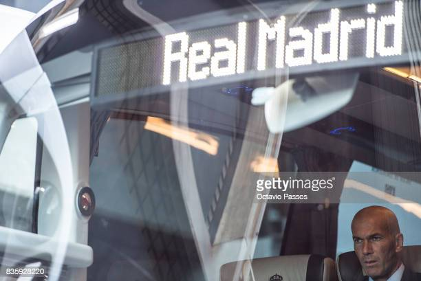 Head coach Zinedine Zidane of Real Madrid inside the bus during the arrival at the Riazor Stadium before the start of the La Liga match between...