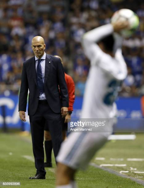 Head coach Zinedine Zidane of Real Madrid looks on during the La Liga match between Deportivo La Coruna and Real Madrid CF at Riazor Stadium on...