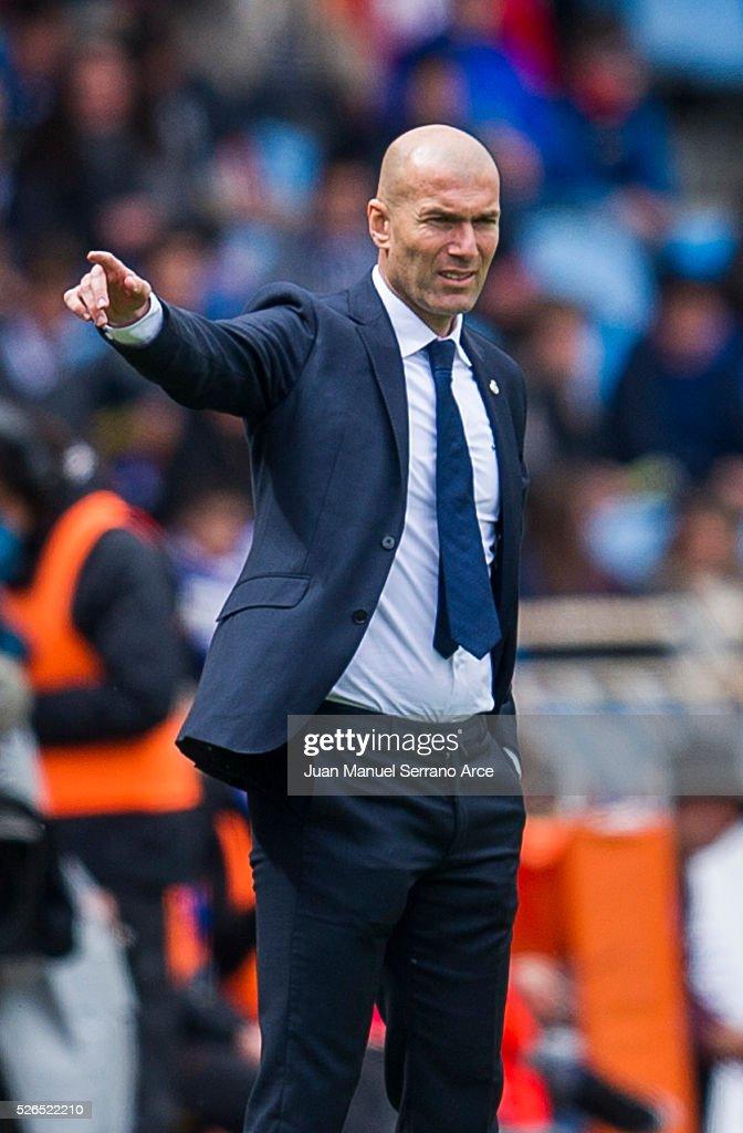 Head coach Zinedine Zidane of Real Madrid reacts during the La Liga match between Real Sociedad de Futbol and Real Madrid at Estadio Anoeta on April 30, 2016 in San Sebastian, .