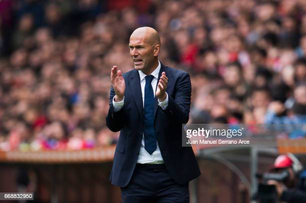 Head coach Zinedine Zidane of Real Madrid reacts during the La Liga match between Real Sporting de Gijon and Real Madrid at Estadio El Molinon on...