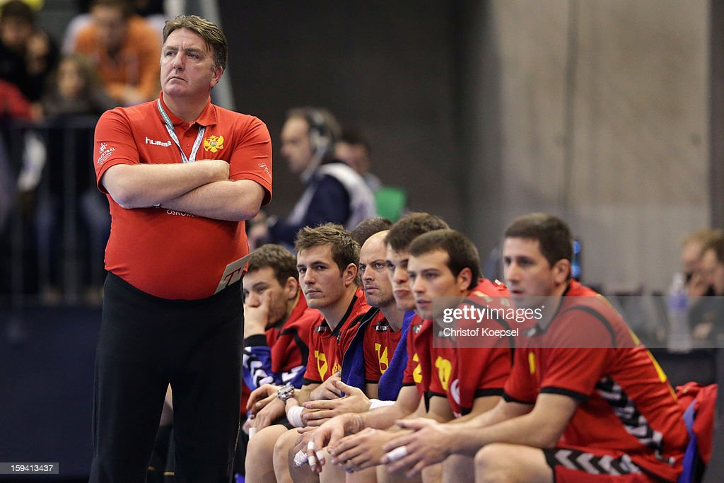 Head coach Zoran Kastratovic of Montenegro looks dejected during the premilary group A match between Montenegro and France at Palacio de Deportes de Granollers on January 13, 2013 in Granollers, Spain.