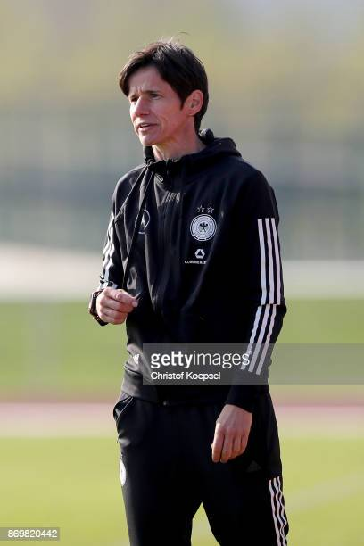 Head coachBettina Wiegmann of Germany is seen during the International Friendly match between Germany U15 Girls and United States U15 Girls at...