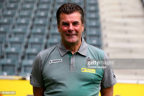 Head coachDieter Hecking of Borussia Moenchengladbach poses during the team presentation at Borussia Park on July 28 2017 in Moenchengladbach Germany