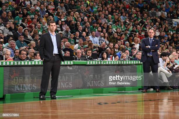 Head Coaches Brad Stevens of the Boston Celtics and Frank Vogel of the Orlando Magic looks on during the game on March 31 2017 at the TD Garden in...