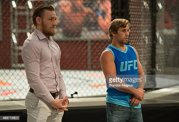 Head coaches Conor McGregor and Urijah Faber prepare to pick the fighters for their next fight during the filming of The Ultimate Fighter Team...