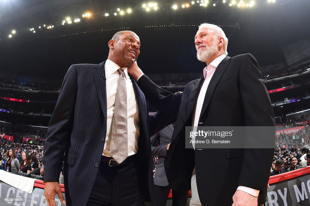 Head Coaches Doc Rivers of the LA Clippers and Gregg Popovich of the San Antonio Spurs are seen before the game on February 24, 2017 at STAPLES Center in Los Angeles, California.