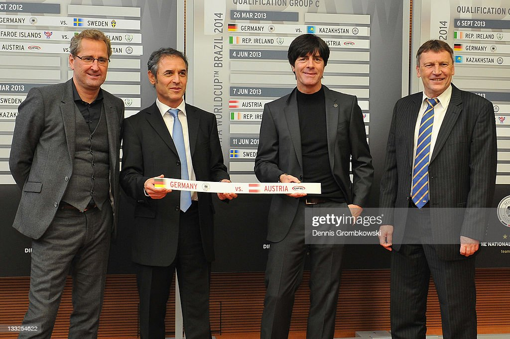 Head coaches Erik Hamren of Sweden, Marcel Koller of Austria, Joachim Loew of Germany and Miroslav Beranek of Kazakhstan pose during the DFB Press Conference about the 2014 FIFA World Cup Qualifier Schedule at DFB headquarter on November 18, 2011 in Frankfurt am Main, Germany.