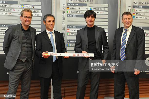 Head coaches Erik Hamren of Sweden Marcel Koller of Austria Joachim Loew of Germany and Miroslav Beranek of Kazakhstan pose during the DFB Press...